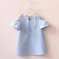 Summer Baby Girls Dress Cotton Casual Short Sleeve Striped Off Shoulder Dresses - intl