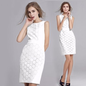 Summer Dress Women Sexy Sleeveless Solid Color Slim Large Size Dresses Fashion Casual Plus Size White