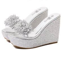 Summer Large Size Wedges Slippers Sexy Beads Bright Rhinestone Thick Procrastinates High-heeled Women Slipper Shoes
