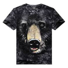 Summer Mens Casual 3D Black Bear Printing Tees Plus-Size Short Sleeve T-shirt