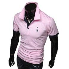 Summer Men's Fashion Casual Short-sleeved T-shirt Korean Slim Shirt POLO Deer Printing Pink