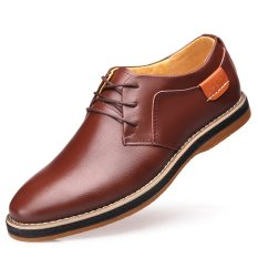 Summer New Men's Casual Leather Shoes (Brown)