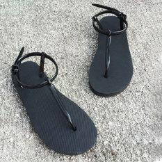 Summer Roman Sandals Simple Flat Clip Toe Beach Sandals Slippers (Black) - Intl