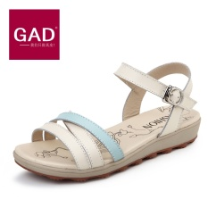 Summer soft bottom leather casual shoes with flat sandals with a low female student pregnant women slip sandals - intl