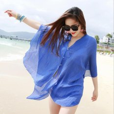 Summer Women Fashion Candy Color Pure Color Variety Chiffon Beachwear Pearl Button Yarn Clothing Sun Clothes (Blue) - intl