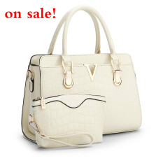 SUNNY SHOP Fashion Patent PU Leather Handbags Socialite Crocodile Grain Women Messenger Bags Fashion Women Shoulder Bags (Beige) - Intl