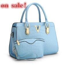 SUNNY SHOP Fashion Patent PU Leather Handbags Socialite Crocodile Grain Women Messenger Bags Fashion Women Shoulder Bags (Blue) - Intl
