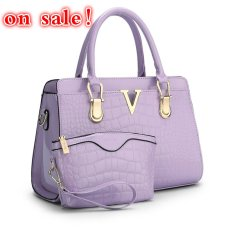 SUNNY SHOP Fashion Patent PU Leather Handbags Socialite Crocodile Grain Women Messenger Bags Fashion Women Shoulder Bags (Purple) - Intl