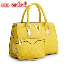 SUNNY SHOP Fashion Patent PU Leather Handbags Socialite Crocodile Grain Women Messenger Bags Fashion Women Shoulder Bags (Yellow) - Intl