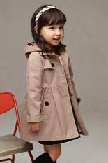 Sunweb Europea Gaya Gadis Musim Dingin Musim Gugur Angin Mantel Jaket Berkerudung Sederhana Peplum Dril( Khaki)