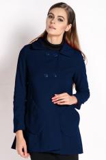 Sunweb Fashion Long Coat Korean Upper Garment Women Candy Colors Coat Navy Blue (Intl)