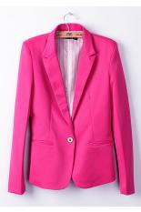 Sunweb Fashion Women Candy Color Basic Coat Slim Blazer Rose Red (Intl)