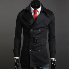 Sunweb Men's Stylish Double Breasted Long Trench Coat Jacket Windbreak 2 Colors (Black) (Intl)