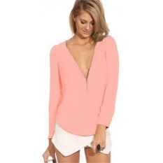 Sunweb New Fashion Women Ladies Sexy Deep V-Neck Long Sleeve Pure Color Loose Casual Leisure Tops Blouse (Pink) - Intl