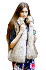 Sunweb New Fashion Women's Faux Fur Vest Medium Long Stand Collar Jackets Coat Vest Waistcoats (Grey) (Intl)