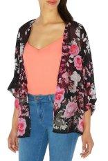 Sunweb New Stylish Lady Women's 3/4 Sleeve Vintage Style Print Loose Chiffon Cardigan Blouse (Intl)