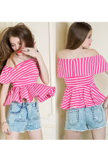 Sunweb New Women Sexy Off Shoulder Flouncing Hem Striped Casual Tops T-shirt Rose Red (Intl)