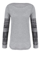 Sunweb Spring Autumn Long Sleeve Printed Sleeve Casual T-Shirt Blouse Women T-Shirt Tshirt Printed Cotton Tops Blusas Grey (Intl)