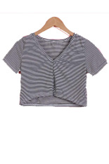 Sunweb Summer Fashion Ladies Women Short Sleeve Striped Crop Top (Intl)