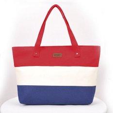 Sunweb Sunweb Women Fashion Large Capcity Stripe Contrast Color Handbag Canvas Shoulder Bags Casual Tote (Green)