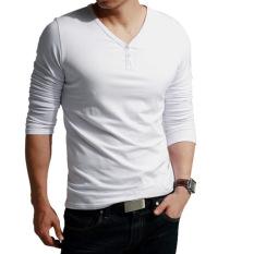 Sunweb V-Neck Men's Long Sleeve Casual T-Shirt Tops (White)