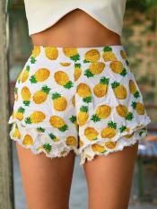 Sunweb Women Fashion Casual Slimming Pineapple Print Lace Trimming Beach Hot Shorts
