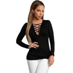 Sunweb Women Fashion Sexy Hollow V Neck Long Sleeve Solid Slim T-Shits Top (Black) - Intl