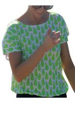Sunweb Women Summer Casual Loose Short Sleeve Back Hollow Out Print T-Shirt Tops Green (Intl)