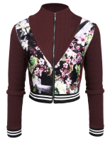 Sunweb Zeagoo Women Casual Slim Long Sleeve Floral Patchwork Zip Up Short Jacket (Coffee) (Intl)