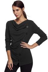 Sunwonder ACEVOG Stylish Lady Women Casual Long Sleeve Draped Neck Button Decoration Long Top Bottoming Shirt Solid Warm Blouse (Dark Gray) (Intl)