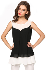 Sunwonder Angvns Ladies Women Fashion Chiffon Sleeveless Patchwork Vest Casual Beach Loose Tank Tops (Black) (Intl)