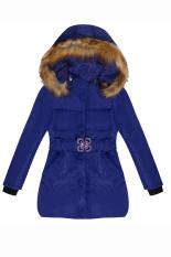 Sunwonder Arshiner Fashion anak gadis berkerudung lengan panjang mantel bulu padat hoodie jaket musim dingin pakaian dengan sabuk (biru)