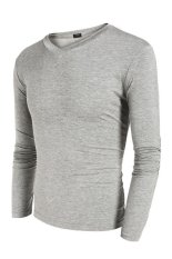 Sunwonder COOFANDY Men Long Sleeve V-Neck Stretch Pure Color Stretch Slim Basic Casual Tops T-shirt (Grey) (Intl)
