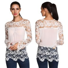 Sunwonder Fashion Women Ladies Long Sleeve Lace Floral Patchwork Hollow Out Slim Casual Tops Blouse (Intl) - Intl