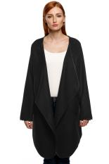 Sunwonder FINEJO Women Fashion Casual Draped Collar Long Sleeve Sweater Cardigan Coat Winter Jacket (Black) (Intl)