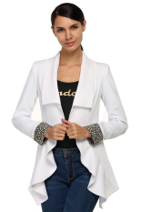 Sunwonder FINEJO Women Ladies Fashion Lapel Front Open Asymmetric Hem Pure Color Slim OL Casual Outwear Blazer (White) (Intl)