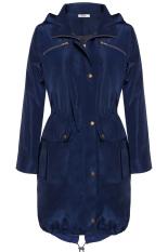 Sunwonder Meaneor Stylish Ladies Women Casual Hooded Long Trench Coat Solid Hoodies Thin Overcoat Pocket Windbreaker (Navy Blue) (Intl)