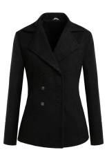 Sunwonder Meaneor Winter Women Casual Lapel Long Sleeve Double-breasted Wool Blend Coat Outwear (Black) (Intl)