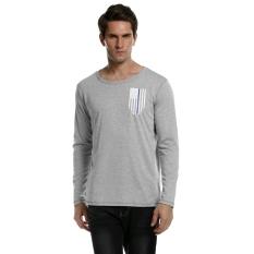 Sunwonder Men Fashion Casual Round Neck Long Sleeve Flag Print T-Shirt Top