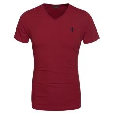 Sunwonder Men Fashion Casual V Neck Short Sleeve Solid Cotton Basic T Shirt Tops