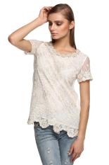 Sunwonder Stylish Finejo Women Casual Short Sleeve Round Neck Chiffon Lace Blouse (White) (Intl)