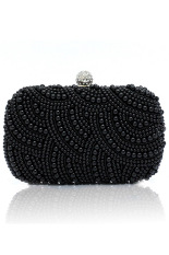 Sunwonder Women Clutch Bag Pearl Beaded Party Bridal Handbag Wedding Evening Purse (Black)