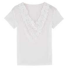 Sunwonder Women Summer Casual Lace Short Sleeve Solid Loose Blouse Tops (Intl) - Intl