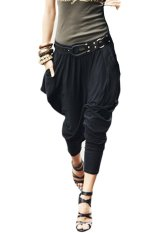 Sunwonder Women's Casual Hip Hop Harem Pants Trousers (Black) (Intl)