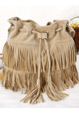 Sunwonder Women's Faux Suede Fringe Tassels Cross-body Bag Shoulder Bag Handbags (Beige)