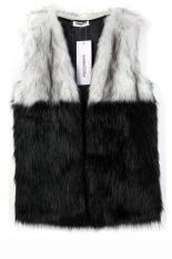 Sunwonder Zeagoo Women Lady Casual Faux Fur Shaggy Vest Sleeveless Coat Outerwear Long Hair Jacket Waistcoat Splicing Gilet (Black&White) (Intl)
