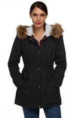 SuperCart ACEVOG Women Fashion Casual Zipper Hooded Warm Faux Fur Long Coat Outwear (Black) (Intl)