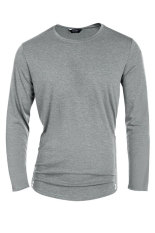 SuperCart COOFANDY Men's Casual O-Neck Long Sleeve Solid Side Zipper T-Shirt Tops (Grey) (Intl)