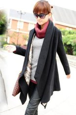 SuperCart Fashion Korea Women's Woolen Autumn Winter Coat Long Cape Clock Jacket (Black) (Intl)