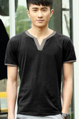 SuperCart Fashion Men's Casual V-Neck Short Sleeve Tops Sports Leisure Loose T-shirt (Black) (Intl)
